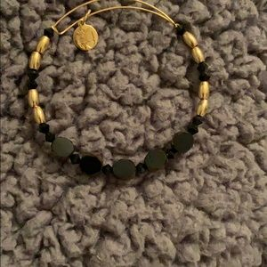 Alex and Ani black and gold beaded bracelet